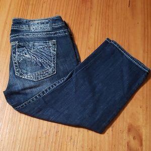 3/$50 - EUC - Silver Low-rise Crop Jeans